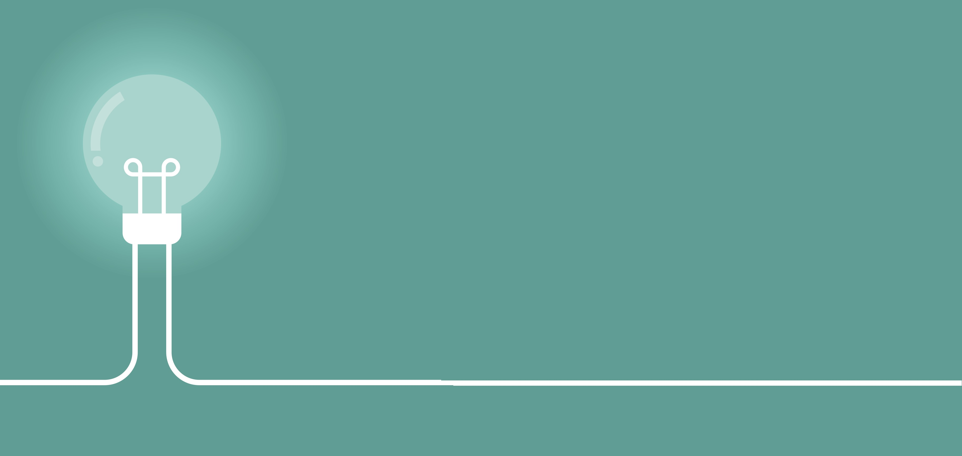 Bulb vector in white against a light teal background
